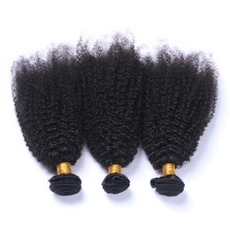 machine wefted hair Australia - Afro Kinky Curly Brazilian Virgin Human Hair Bundles Deals 3Pcs Lot Brazilian Afro Curly Human Hair Weave Extensions Double Wefted 10-30""
