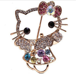Wholesale Hot Korea New Listing Fashion Delicate rhinestone octopus brooch For Jewelry hello Kitty brooch pin