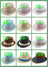 crochet baby cowboy hats 2018 - Kids Straw Fedora Hat Baby Summer Straw Cowboy Hat Boys Girls Jazz cap Straw Fedoras Baby Strawhat mix 3 style 13 color