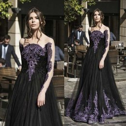 Black Purple Art NZ - Charming Black And Purple Lace Appliqued Prom Dresses Sheer Neck Illusion Long Sleeves Tulle Evening Gowns Floor Length Formal Wear