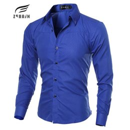 $enCountryForm.capitalKeyWord Canada - Wholesale- Fashion Men Shirt Brand Dark Lattice Mens Business Shirts Breathable Fit Shirt Casual Long Sleeve Dress Shirts Solid Large Size
