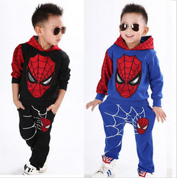 Survêtements De Garçons Spiderman Pas Cher-Garçons Printemps Automne Spiderman Sport Costume 2 Pieces Set Survêtements Vêtements Enfants fixe enfants vêtements Casual Hoodie + Pant