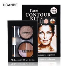 Beauty Brand contour palette online shopping - 3in1 Face Contour Kit Cream Makeup Brands Face Powder Cosmetic Kiss Beauty Pro Concealer Stick Bronzers Powder Highlighter Palette