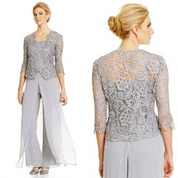 $enCountryForm.capitalKeyWord NZ - Elegant 2016 Silver Lace And Chiffon Spaghetti Mother Of Bride Pant Suit With 3 4 Long Sleeve Jacket 3 Pieces Custom Made EN90920