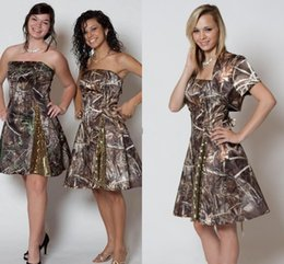 2016 fashion country camo short bridesmaid dresses with jacket strapless sequins short wedding party dresses knee length prom dresses cheap