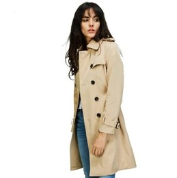 Vêtements Imperméables Pour Les Femmes De La Mode Pas Cher-2017 Autumn New High Fashion Brand Femme Classic Double Breasted Trench Coat Imperméable Raincoat Business Outerwear