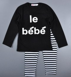 Wholesale Newest Children Outfits Set Spring Autumn baby boy girl clothes set letters le bebe long sleeve t shirt stripe Trousers Kids Clothing M T