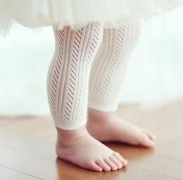 Children Hose Canada - Spring Summer Baby Infant Leggings Hollow Out Capri Pants Girls Cotton Leggings Kids Panty-hose Children Leggings 11356