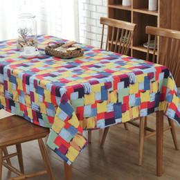 $enCountryForm.capitalKeyWord NZ - BZ304 Colored square graffiti canvas Table Cloth Tovaglia rettangolare Tovaglia plastificata Home Decoration