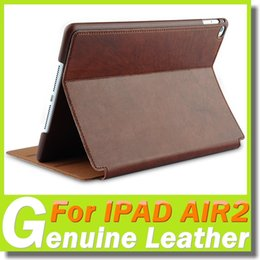 Design Genuine Leather NZ - For ipad case IPAD AIR2 Genuine Leather Case High Quality Comfortable Hand Feeling Ipad Air 2 Flip Stand Shell Cover Simple Noble Design