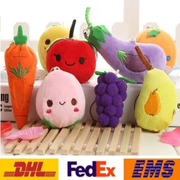 cell phone designs Canada - Fruit Vegetables Keychain 6-13cm Designs Plush Pendant Toys Of Children Kids Squeaky Squeaker Car Cell Phone Bag Key Rings XMAS Gifts WX-T63