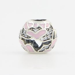$enCountryForm.capitalKeyWord Canada - Silver Beads Round Shape with Enamel Pink Heart CZ Cubic Zirconia Diamond Bead Spacer European Bead Charm Fit For Charm Bracelet DIY Jewelry
