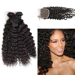 $enCountryForm.capitalKeyWord NZ - European Virgin Hair Lace Closure with 3 Bundles Deep Curly Wave High Quality Human Hair G-EASY Fast Shipping