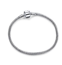 Silver European Style Bracelet Chain NZ - 2017 New Fashion Pandora Style Silver Snake Chain Bangles Bracelets 3mm Fit European Pandora Charm 925 Sterling SilverBeads For Ladies Women
