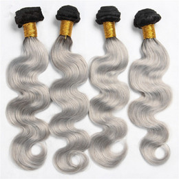 $enCountryForm.capitalKeyWord Canada - New Arrival 4Pcs Silver Grey Ombre Hair Extensions #1B Grey Body Wave 9A Malaysian Virgin Human Hair Weaves Ombre Hair Bundles For Woman