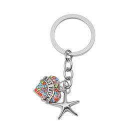 stainless steel keychain chain UK - Starfish Urn Keychain BEST FRIEND in Heart Ashes Memorial Keepsakes Cremation Jewelry with Gift Bag and Funnel