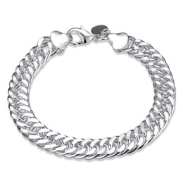 wide chain plate NZ - 10MM Heavy Wide Chain Men's Silver Tone Polished Bracelet 925 Silver Plated Fashion Jewelry Link Chain Bracelet Christmas Gifts for Men