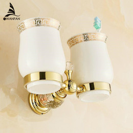 free shipping crystal brassglass bathroom accessories gold double cup tumbler holderstoothbrush cup holders hk 32k discount bathroom accessories crystals