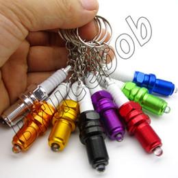 $enCountryForm.capitalKeyWord Canada - 8 colors Metal Car LED Light ignition system ignitor discharge plug keychain Keyring key chain ring fob