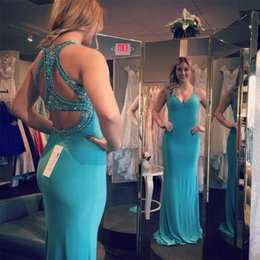 Robe De Bal Pas Cher-2016 New Sparkling Beads Mermaid Prom Robes Backless Long Robes de soiree formelle Deep V Neck Blue Sky Occasion spéciale