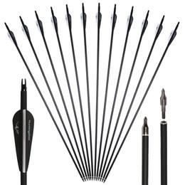 31 '' Carbon Pfeile Faser für Recurve Compoundbogen mit Austauschbaren Punkt Tipps Bogenschießen Outdoor Jagd Schießen Outdoor Sports Erwachsene