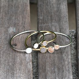 Wholesale Druzy Bracelet Canada - New Arrival Fashionable Adjustable Gold Druzy Gemstone Stacking Bangles for Women Druzy Cuff Bracelet For Women