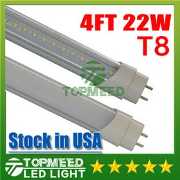 Frost Fluorescent Light Canada - Stock in USA UL 1.2m 4ft 22W Led T8 Tube Lights SMD2835 High Bright light 2400lm Frosted Transparent Cover 85-265V fluorescent lighting