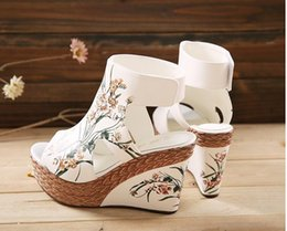 novelty shoe covers Canada - 2016 fish mouth shoes wedge sandals female summer waterproof high heeled shoes folk style hand-painted shoes pierced cool boots