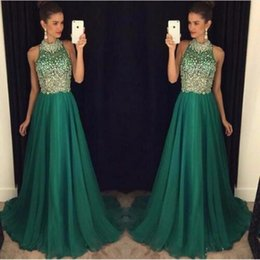 Barato Halter Vestidos De Verde Escuro-New Fashion Dark Green Prom Dresses A Line Crystal Beaded Halter Party Dress Evening Wear Custom Made