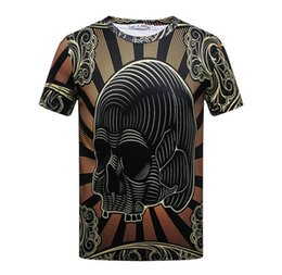 Barato Camisas Retro Crânio-3D Retro stripe skull head Top Quality Cotton nova marca Novelty Street estilo homens Short Sleeve T-shirt Moda O-Neck Casual unisex M-3XL