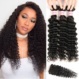 34 inches hair Australia - Peruvian Malaysian Indian Brazilian Virgin Hair Deep Wave Bundles With Closure 9A Human Hair Weave With Lace Closure