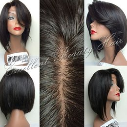 Large Sized Wigs NZ - Large Stock 100% Unprocessed Brazilian Hair Bob Front Lace Wigs Glueless Bob Full Lace Human Hair Wigs Bleached Knots Side Parting