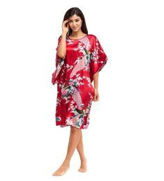 Chinese  Wholesale-Hot Sale Burgundy Women Silk Robe Dress Gown Chinese National Sleepwear Nightshirt Flower&Peacock Kimono One Size NR111 manufacturers