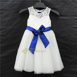 $enCountryForm.capitalKeyWord Canada - vintage lace flower girl dress weddings children lace white and royal blue flower girl dresses sweet baby girls wedding party dress