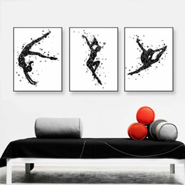 watercolor prints NZ - Modern Watercolor Dance Sport Art Print Poster Abstract Beautiful Girl Room Wall Pictures Canvas Painting Home Decor