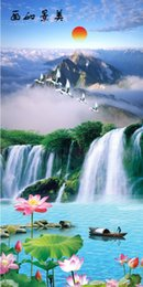 Wholesale Custom large murals fabric wallpaper d wall sitting room c96 bedroom fashion TV sofa background Chinese style classical landscape waterfall