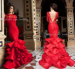 Red Long Sleeve Backless Dresses Canada - 2017 Elegant Red Mermaid Evening Dresses Bateau Neck Long Sleeves Lace Satin Backless Women Prom Dresses Formal Gowns Sweep Train