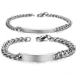 $enCountryForm.capitalKeyWord NZ - Free Engraving Mens Womens Stainless Steel Cuban Curb Chain Link ID Bracelet
