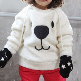 Discount cartoon crew neck sweatshirts - Wholesale- Winter Cute Kids Baby Long Sleeve Sweatshirt Tops Crew Neck Cartoon Bear Casual Pullover Thicken Cotton Warm