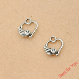 $enCountryForm.capitalKeyWord Canada - 100Pcs Wholesale Antique Silver Plated Wings Heart Charms Pendants for Jewelry Making DIY Handmade 13x12mm jewelry making