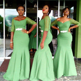 mermaid style chiffon bridesmaid dresses Australia - Elegant Nigerian Style Bridesmaid Dress Mermaid Long Bridesmaids Dresses Scoop Neck Illusion Half Sleeves Beaded Fitted Gowns