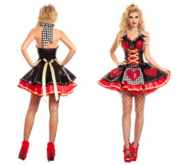 Barato Trajes De Carnaval Feminino-Halloween Costumes Adult Womens Poker Red Rainha dos corações Costume Dress Carnival Party Queen Costumes para as mulheres