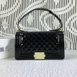 Black Patent Quilted Bag Canada - Free Shipping !Fashion Brand Quilted Chain 25CM Bag Women Patent Leather Shoulder Bag 67086