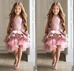 Barato Vestidos Baratos Do Natal Para Crianças-2017 Lovely Lace Appliques Flower Girls Vestidos Jewel Knee Length A-line Pageant Vestidos Crianças Vestidos de festa de Natal Custom Made Cheap