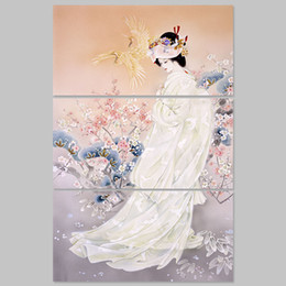 life size pictures Australia - Big Size 3 pcs Japan style kimono lady picture decoration Japanese Plum flowers canvas painting wall Art home decor unframed