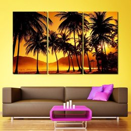 $enCountryForm.capitalKeyWord Canada - 3pcs Gold sunset decoration coconut tree wall art picture landscape mountains Canvas Painting living room home decor unframed