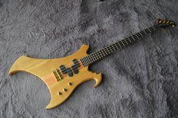 Abnormity Custom Bass Guitar Ash Body Ebony Fingerboard With Designed Inlay W Logo Buzzard Neck Through