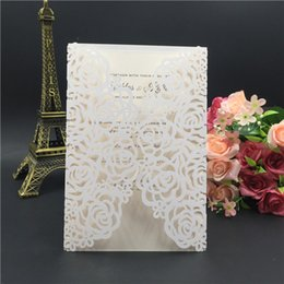 $enCountryForm.capitalKeyWord Canada - Printable Laser Cut Ivory Wedding Invitation with Embossed Flower and Envelope, Free Customized And Free Shipping