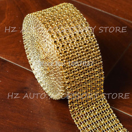 "wholesale diamond mesh roll UK - 1.5""x10 Yards gold DIAMOND MESH WRAP ROLL SPARKLE RHINESTONE Crystal Ribbon"