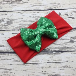 BaBy jersey knit online shopping - Christmas Big Bow Headband Red White Green Baby Headband Sequin Bow Jersey Knit Baby Headwrap Girls Hair Accessories